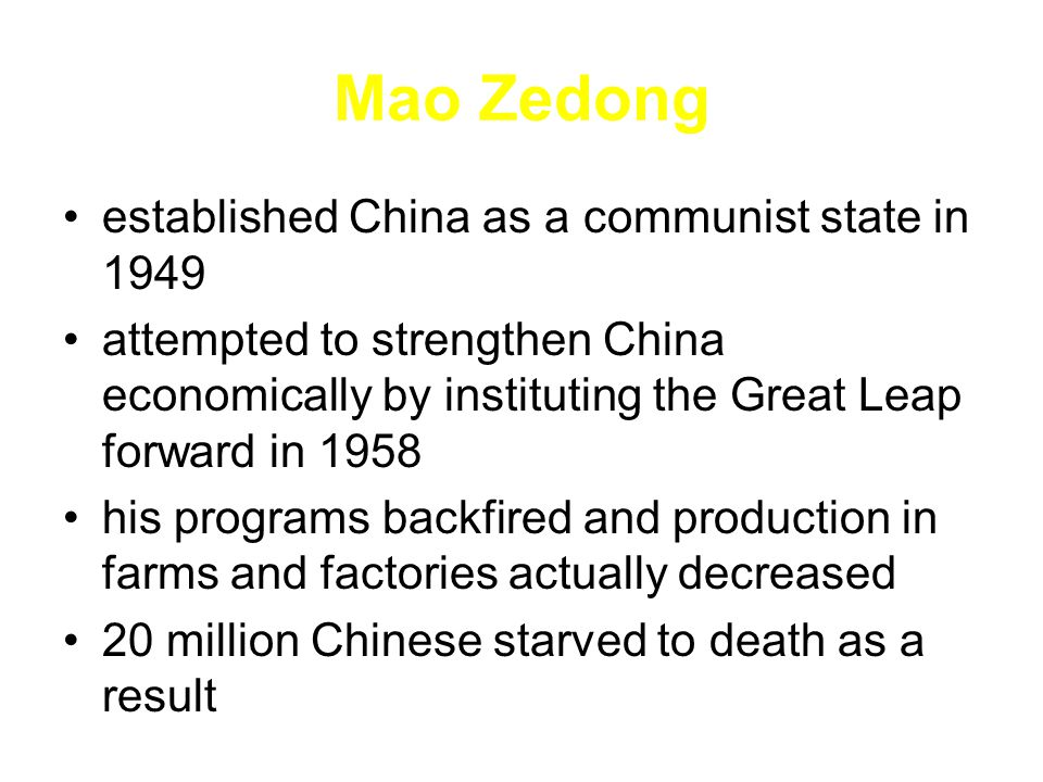 Mao Zedong established China as a communist state in 1949
