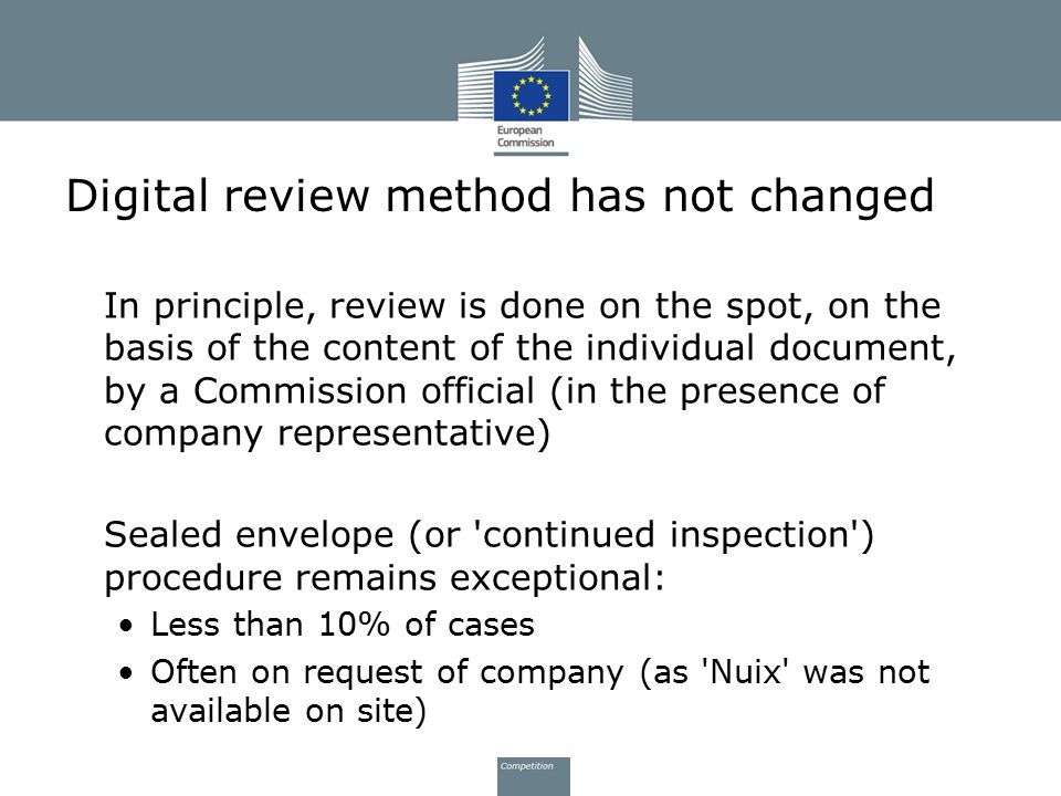 Digital review method has not changed