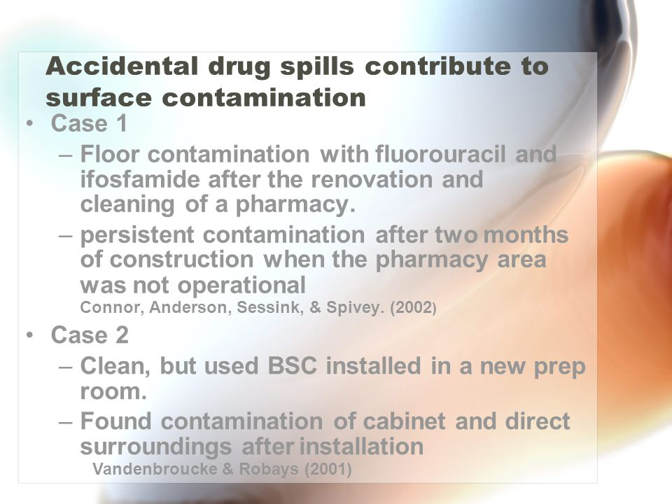 Accidental drug spills contribute to surface contamination