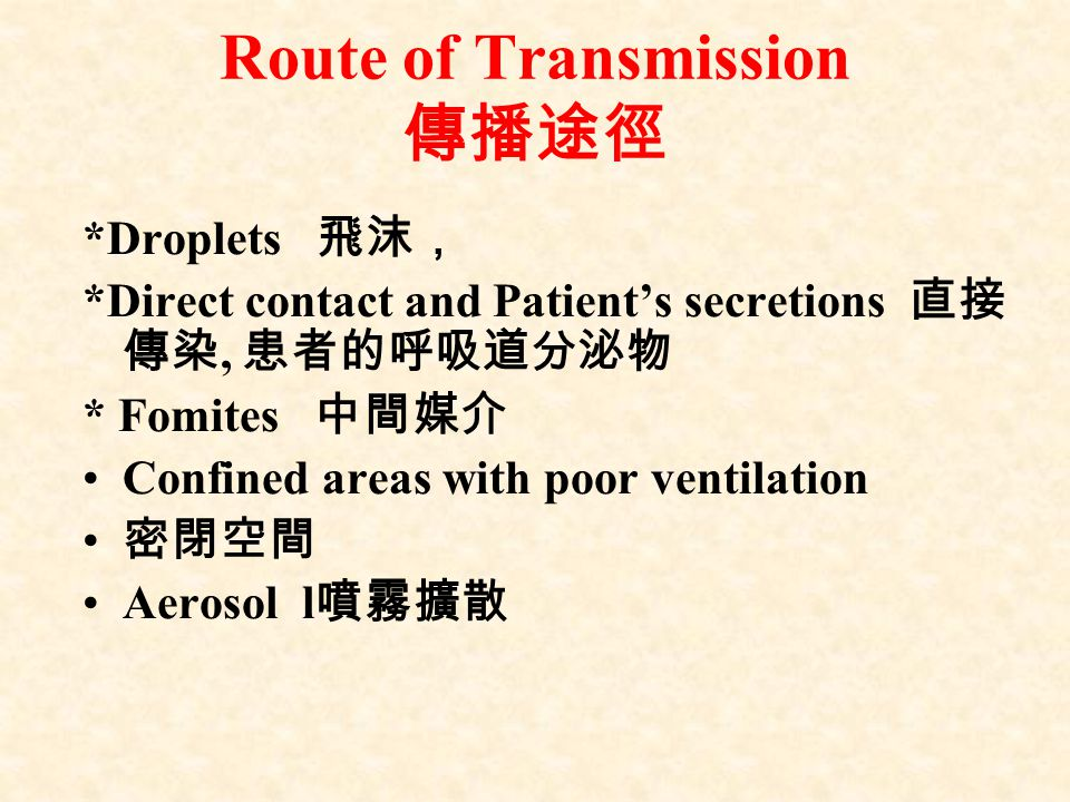 Route of Transmission 傳播途徑