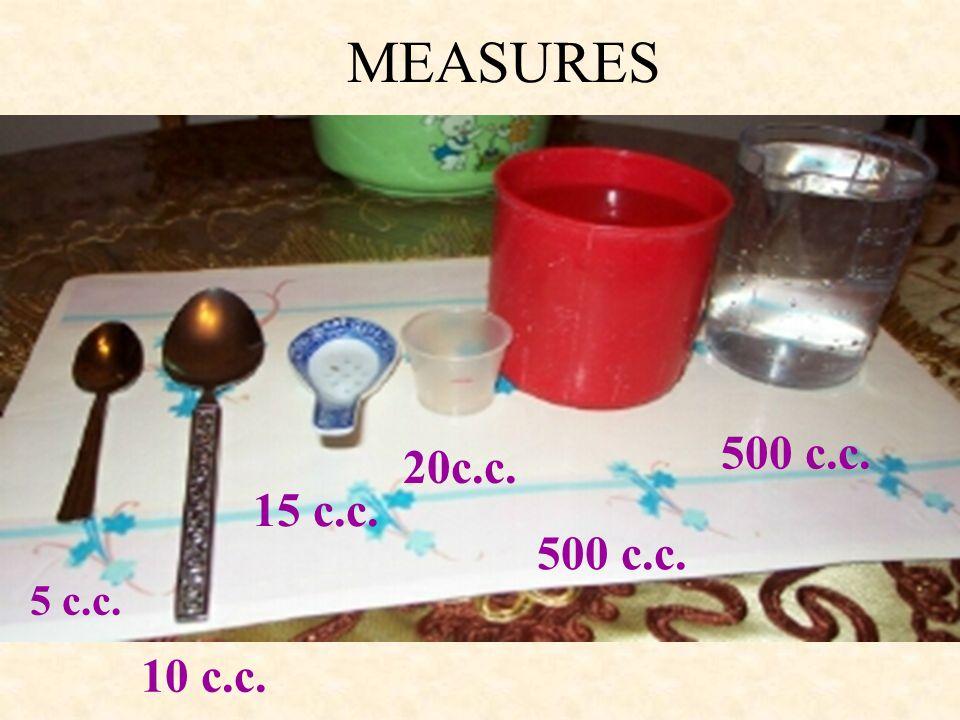MEASURES 500 c.c. 20c.c. 15 c.c. 500 c.c. 5 c.c. 10 c.c.