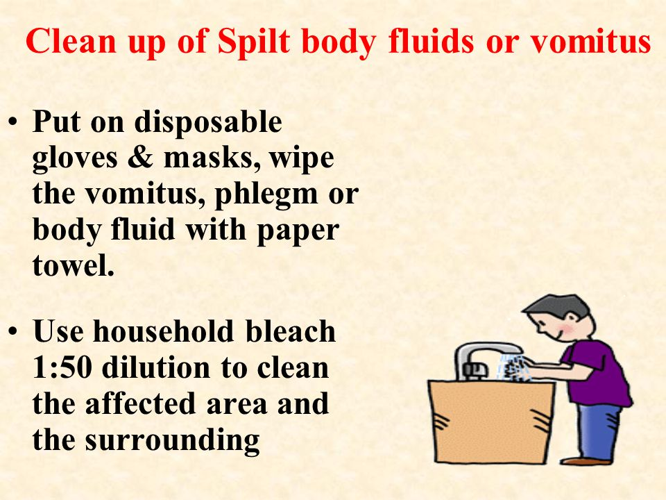 Clean up of Spilt body fluids or vomitus