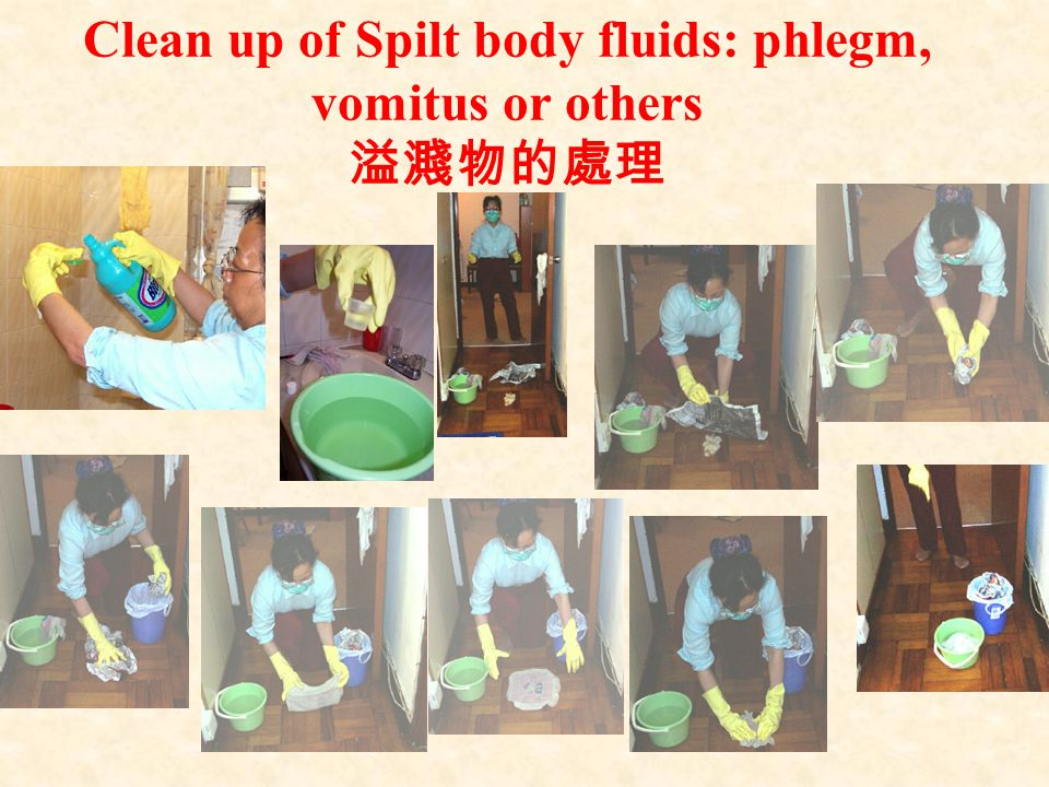 Clean up of Spilt body fluids: phlegm, vomitus or others 溢濺物的處理