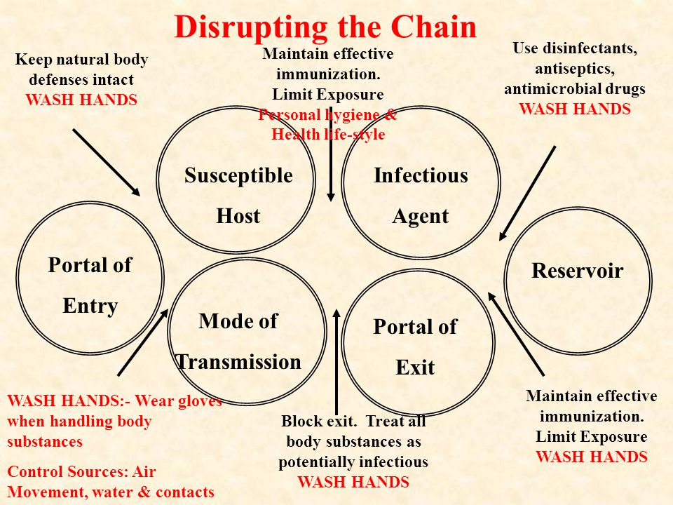 Disrupting the Chain Susceptible Host Infectious Agent Portal of Entry