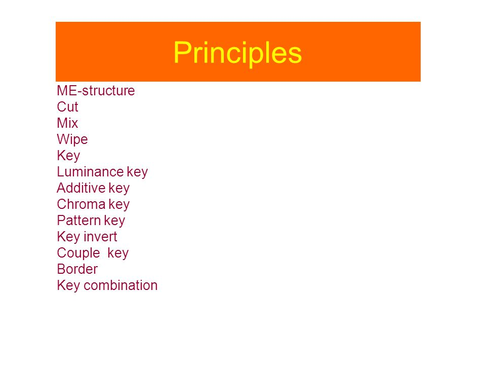 Principles ME-structure Cut Mix Wipe Key Luminance key Additive key
