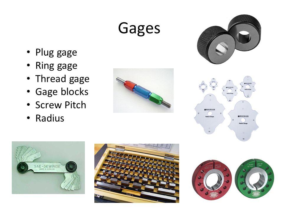 Gages Plug gage Ring gage Thread gage Gage blocks Screw Pitch Radius