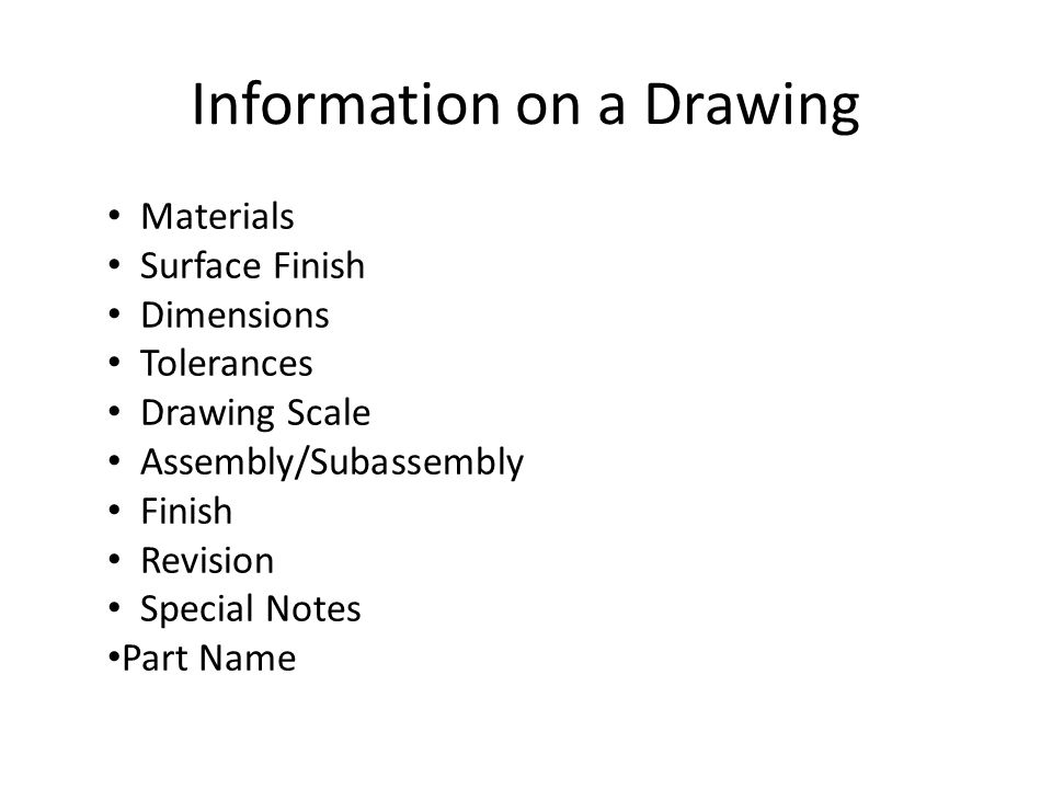 Information on a Drawing