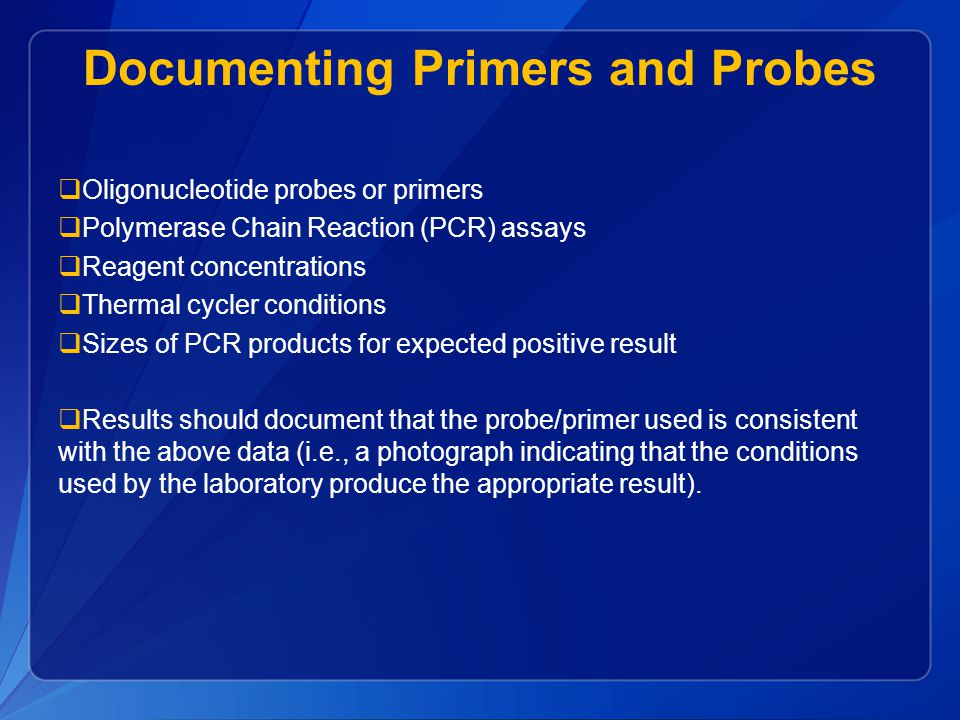 Documenting Primers and Probes