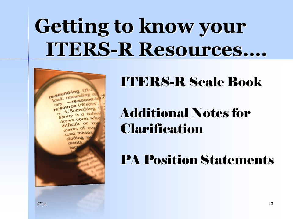 Getting to know your ITERS-R Resources….