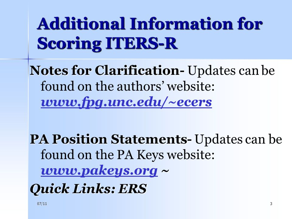 Additional Information for Scoring ITERS-R