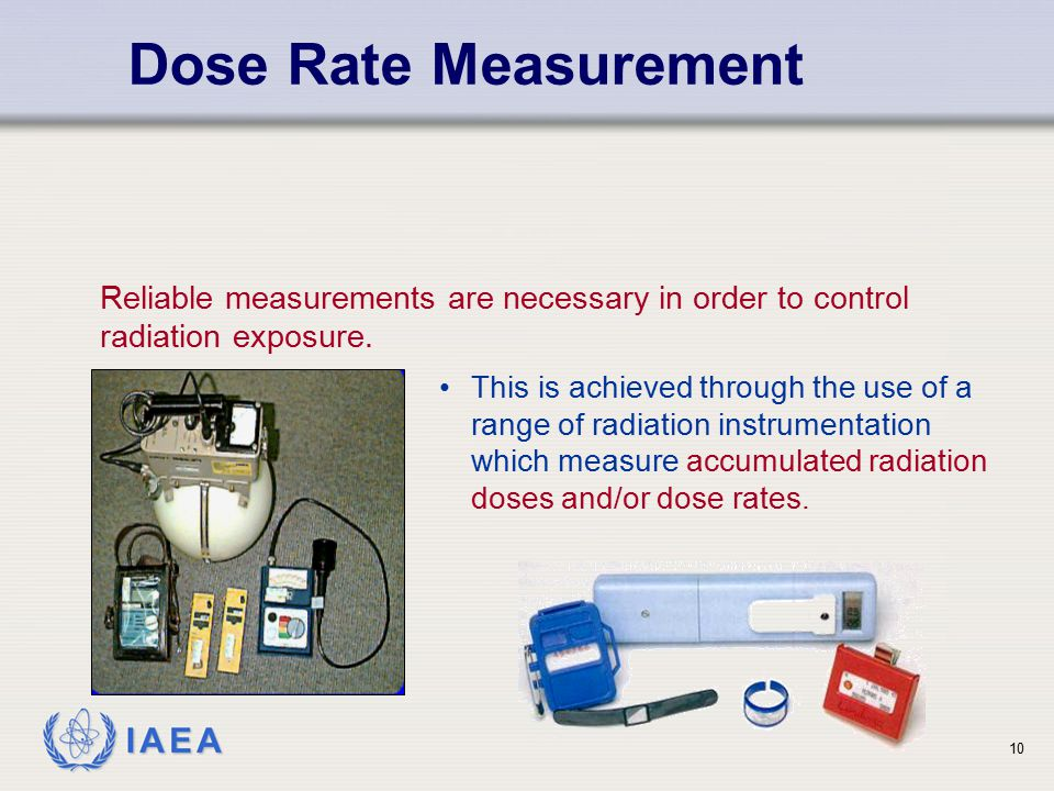 Dose Rate Measurement Reliable measurements are necessary in order to control radiation exposure.