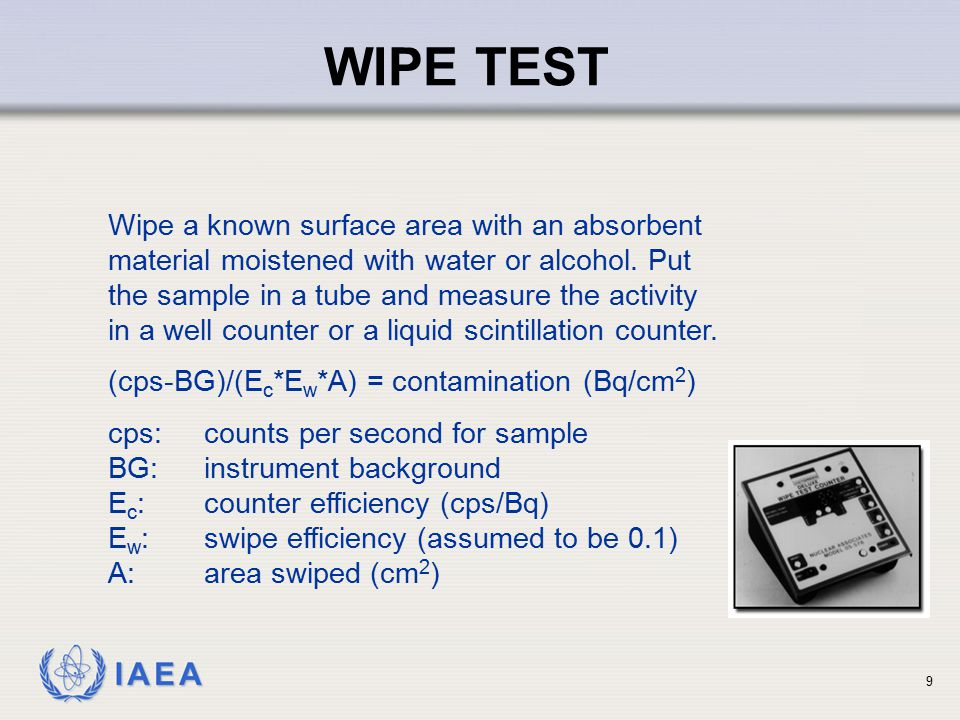 WIPE TEST Wipe a known surface area with an absorbent