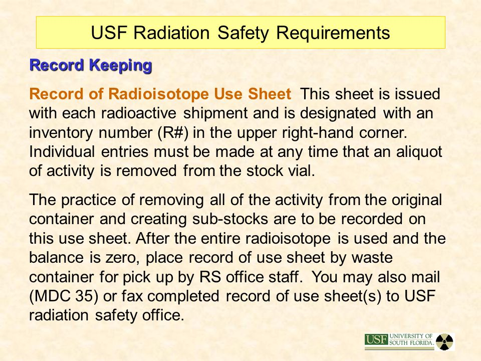 USF Radiation Safety Requirements