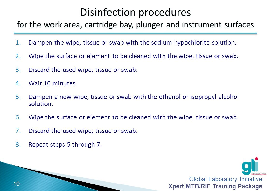 Disinfection procedures