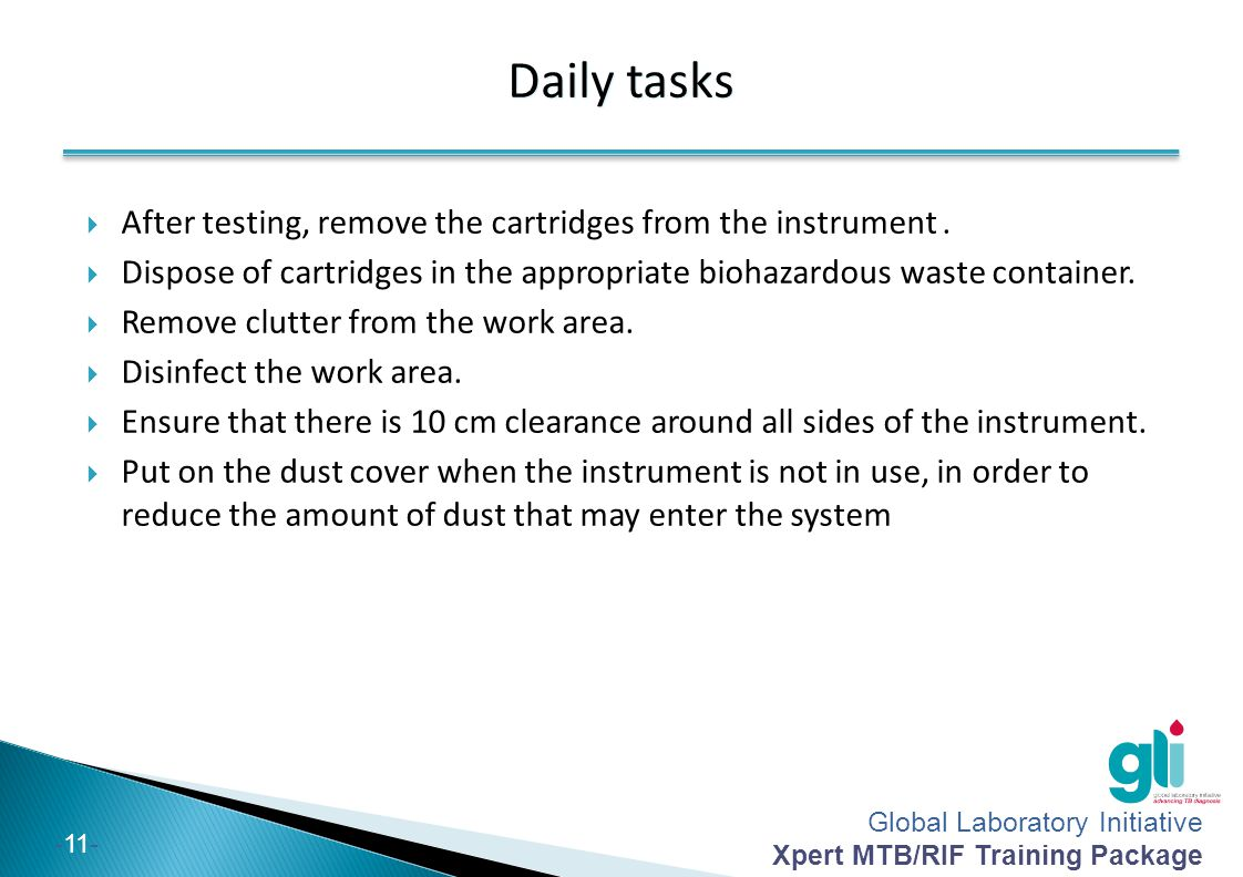 Daily tasks After testing, remove the cartridges from the instrument .