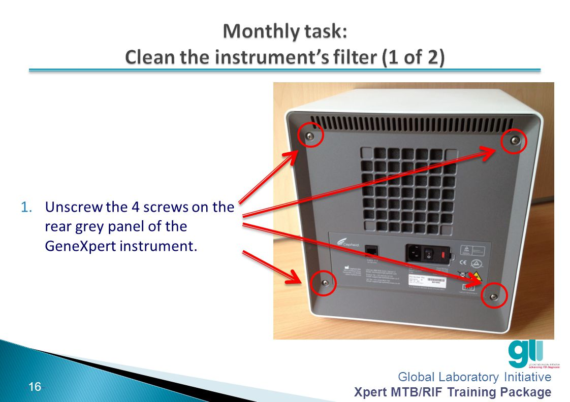 Monthly task: Clean the instrument's filter (1 of 2)