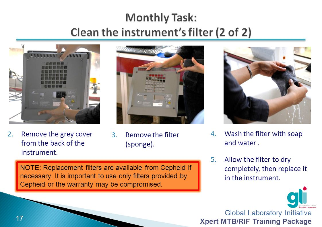 Monthly Task: Clean the instrument's filter (2 of 2)