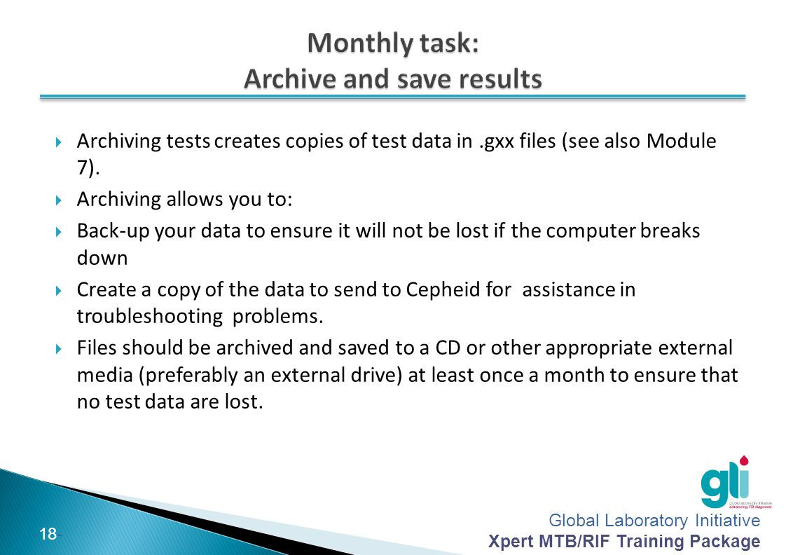 Monthly task: Archive and save results