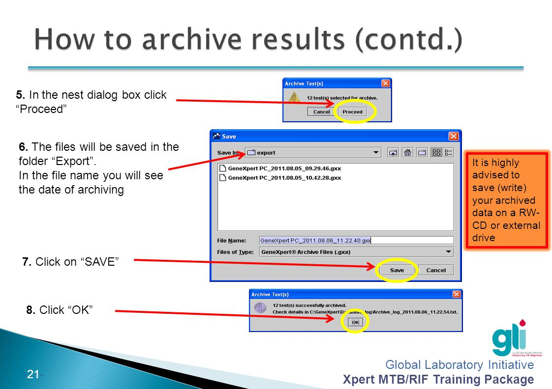 How to archive results (contd.)