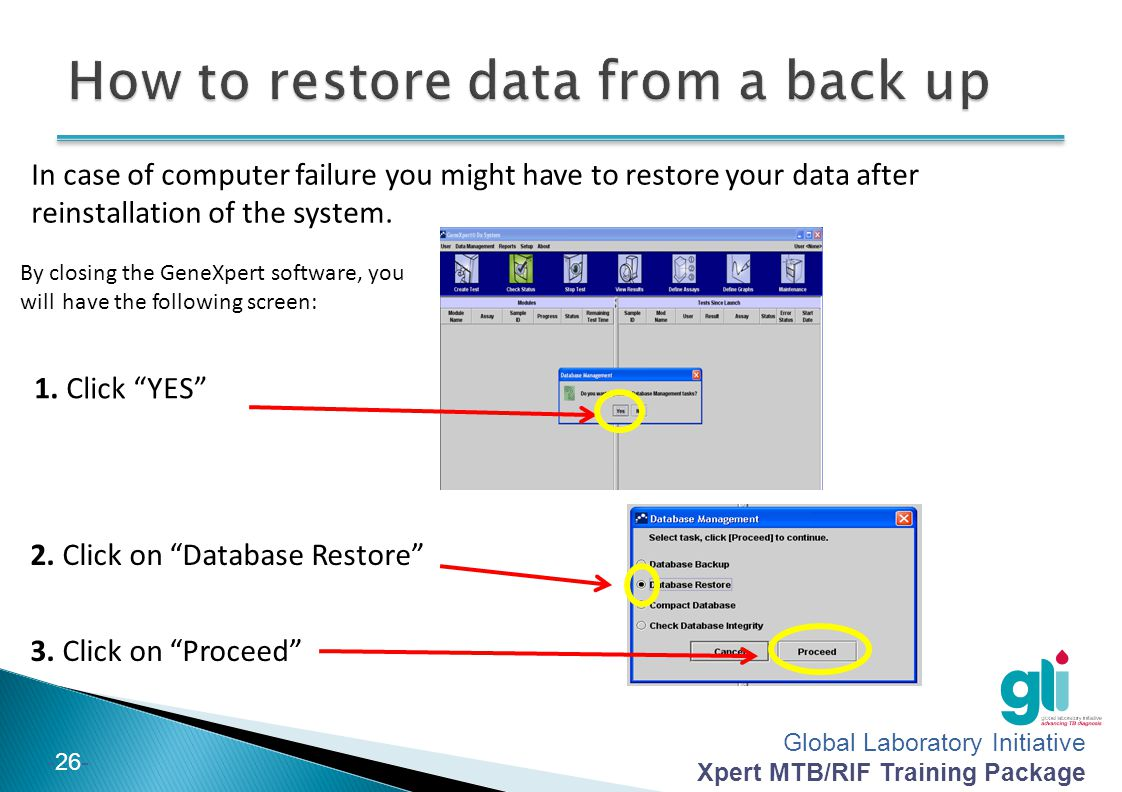 How to restore data from a back up