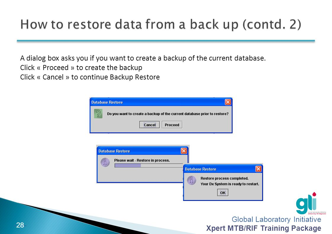 How to restore data from a back up (contd. 2)