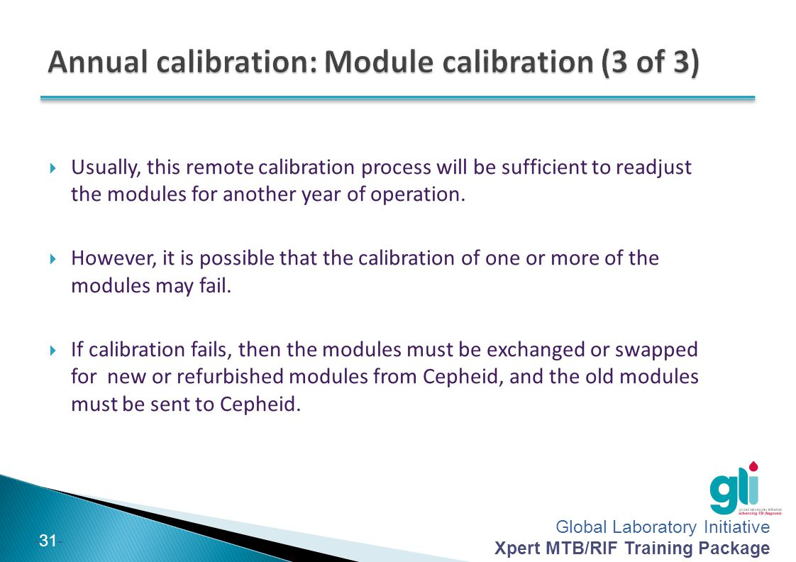 Annual calibration: Module calibration (3 of 3)