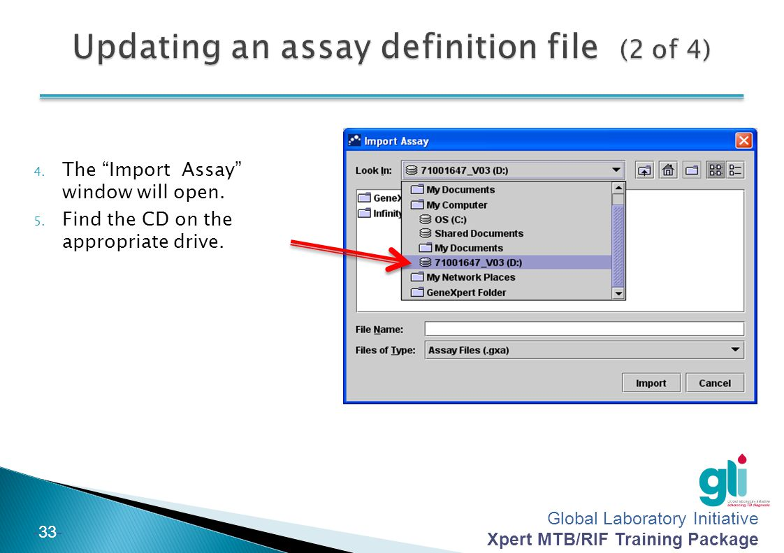 Updating an assay definition file (2 of 4)