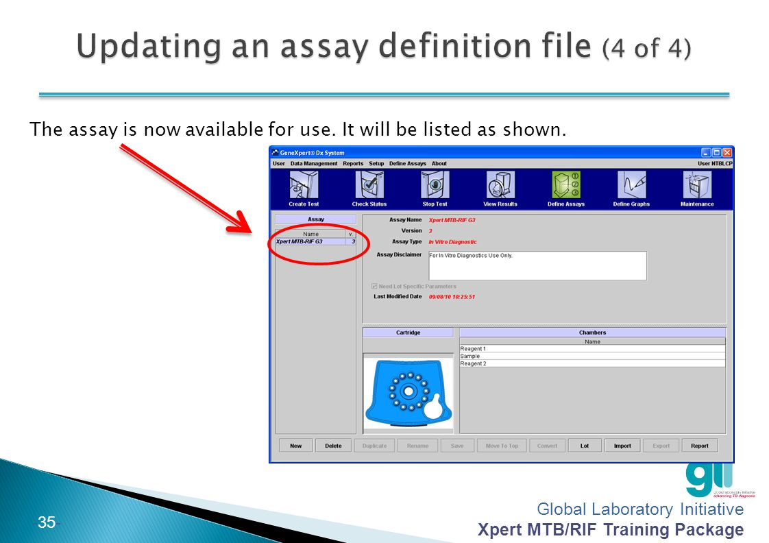 Updating an assay definition file (4 of 4)
