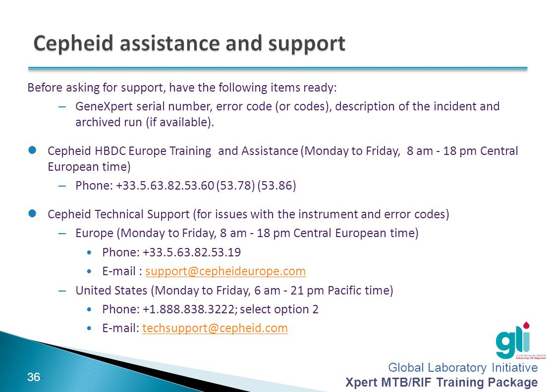 Cepheid assistance and support