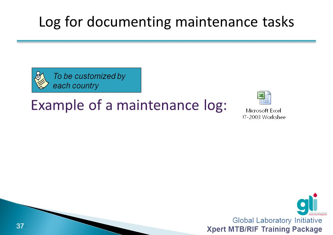 Log for documenting maintenance tasks