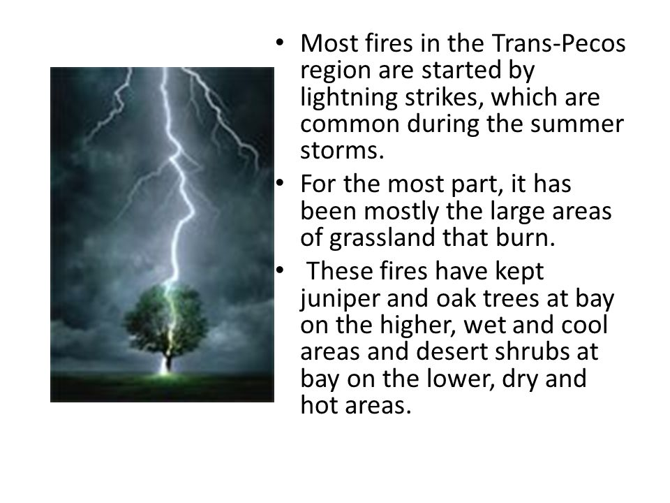 Most fires in the Trans-Pecos region are started by lightning strikes, which are common during the summer storms.