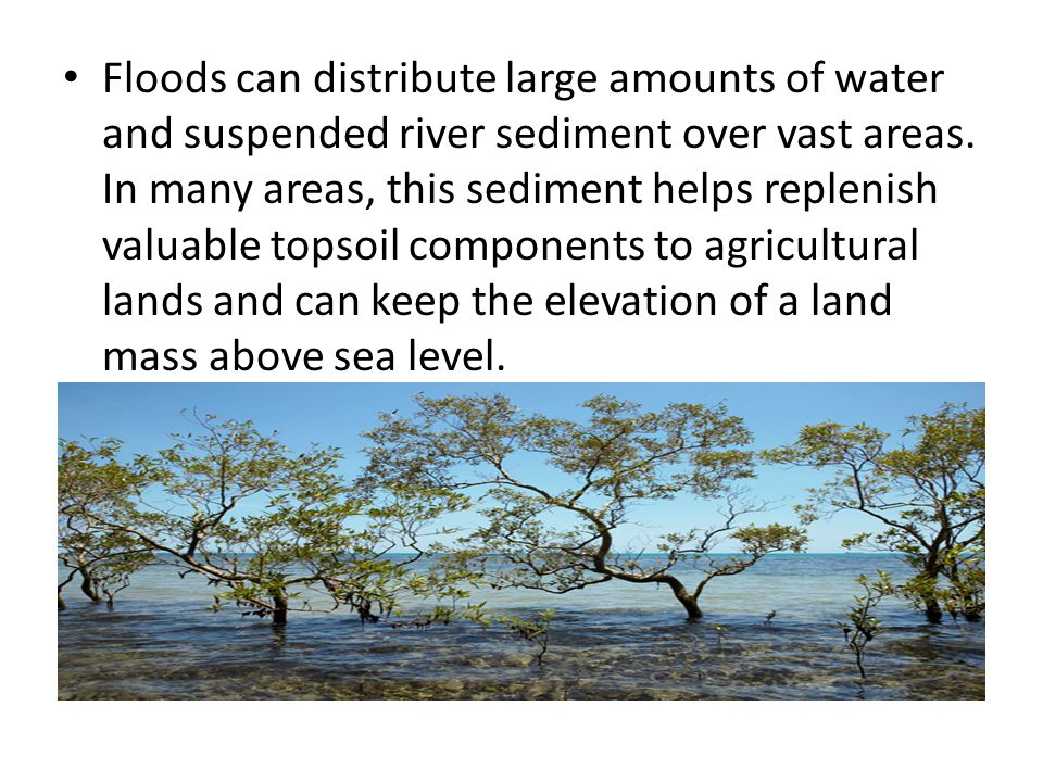 Floods can distribute large amounts of water and suspended river sediment over vast areas.