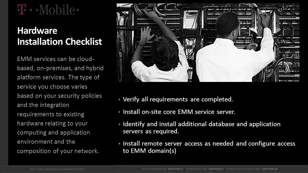 Hardware Installation Checklist