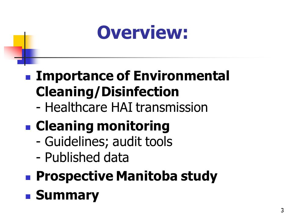 Overview: Importance of Environmental Cleaning/Disinfection - Healthcare HAI transmission.