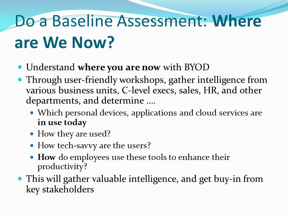 Do a Baseline Assessment: Where are We Now