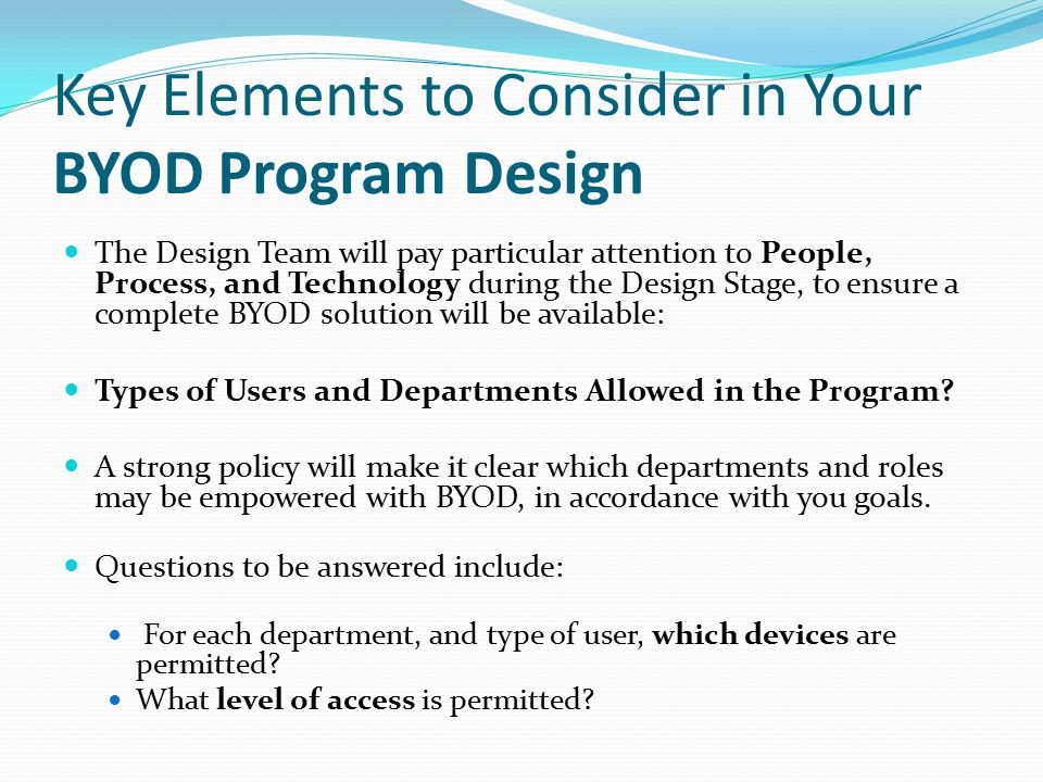 Key Elements to Consider in Your BYOD Program Design