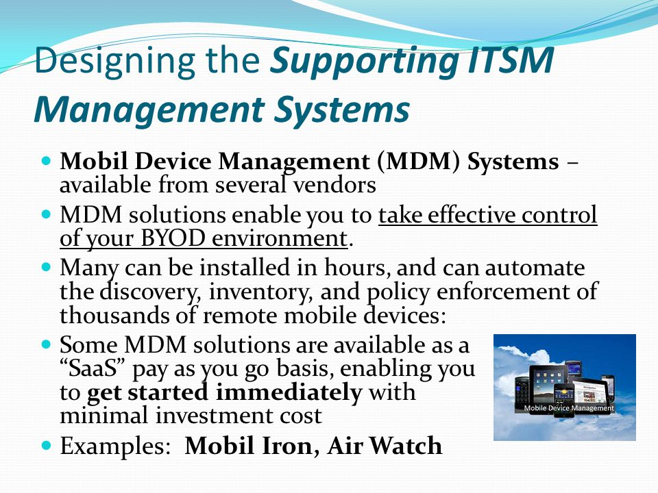 Designing the Supporting ITSM Management Systems