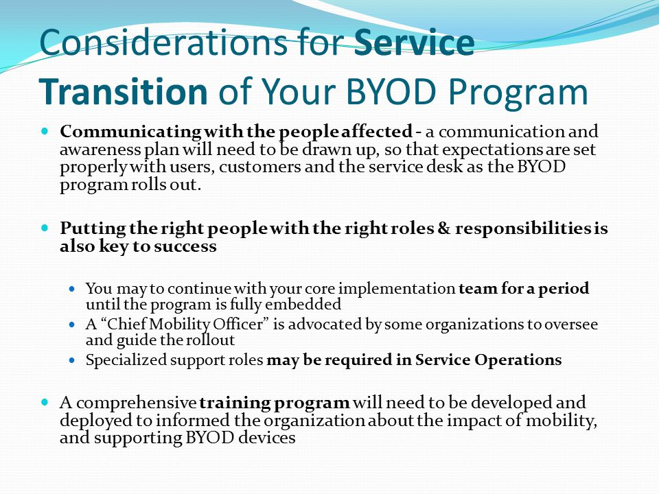 Considerations for Service Transition of Your BYOD Program