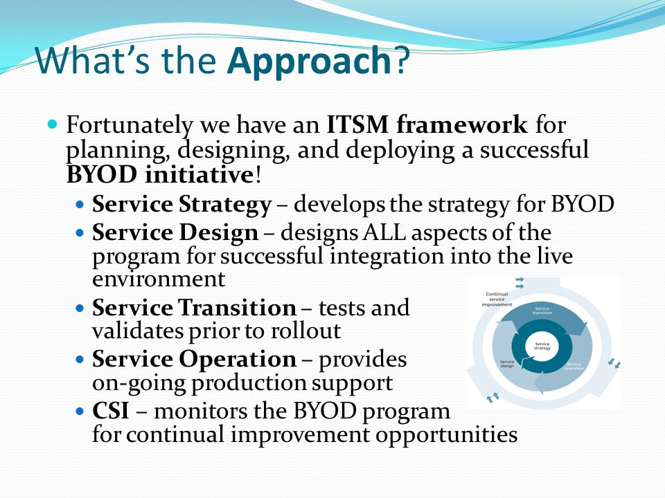 What's the Approach Fortunately we have an ITSM framework for planning, designing, and deploying a successful BYOD initiative!