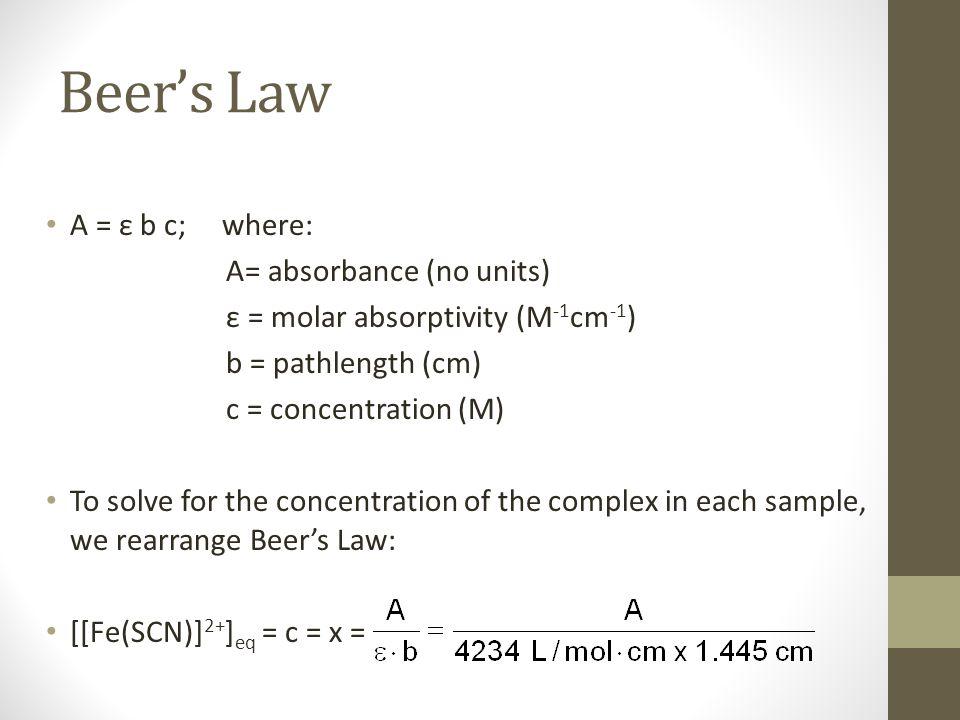 Beer's Law A = ε b c; where: A= absorbance (no units)