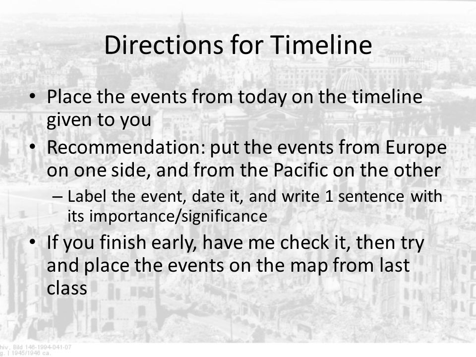 Directions for Timeline