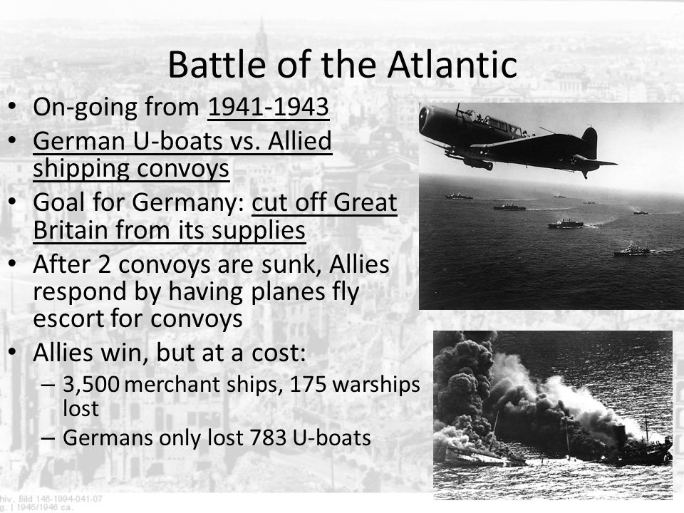 Battle of the Atlantic On-going from 1941-1943