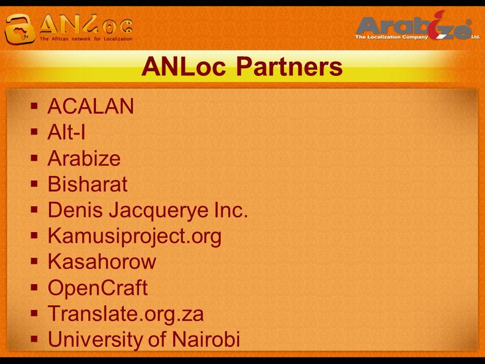 ANLoc Partners ACALAN Alt-I Arabize Bisharat Denis Jacquerye Inc.