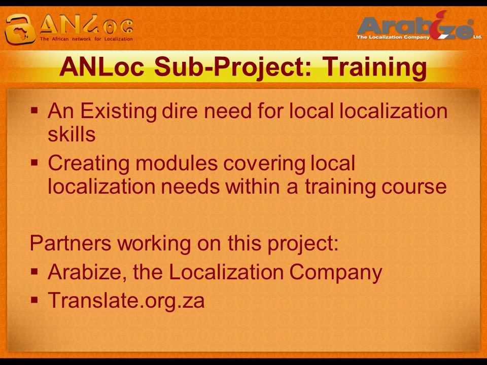 ANLoc Sub-Project: Training