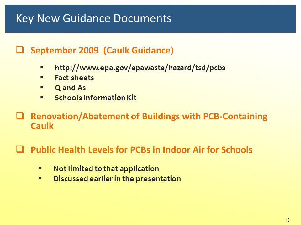Key New Guidance Documents