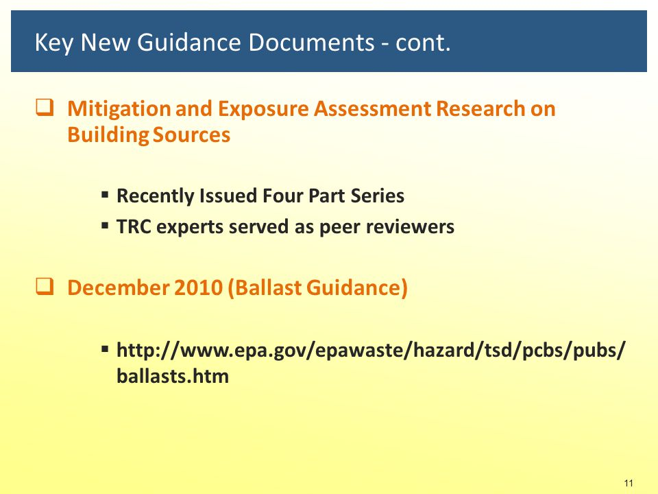 Key New Guidance Documents - cont.