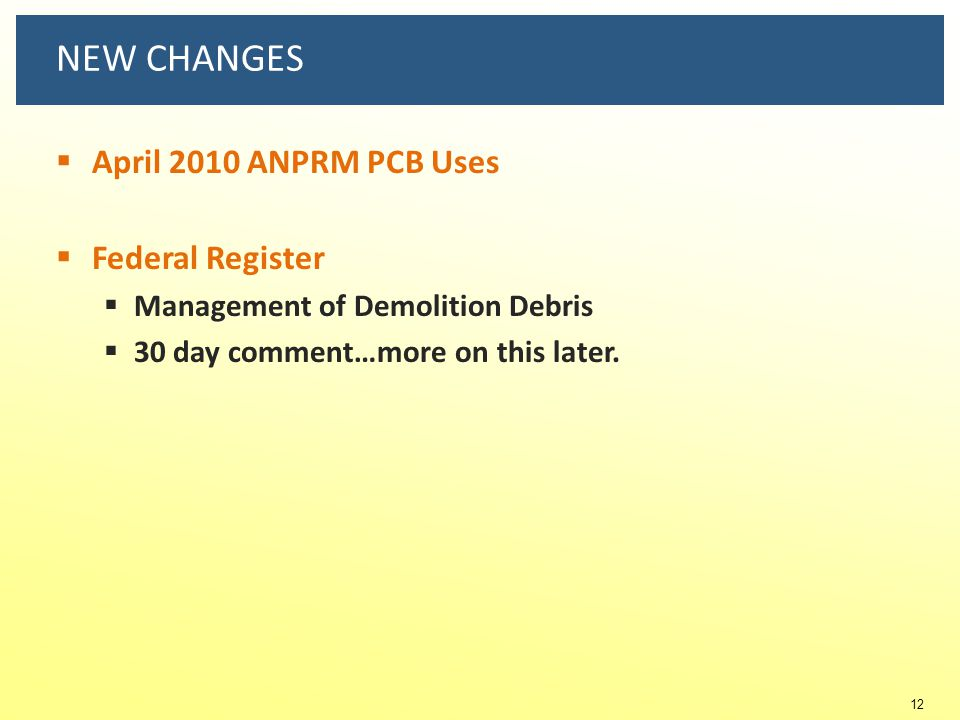NEW CHANGES April 2010 ANPRM PCB Uses Federal Register