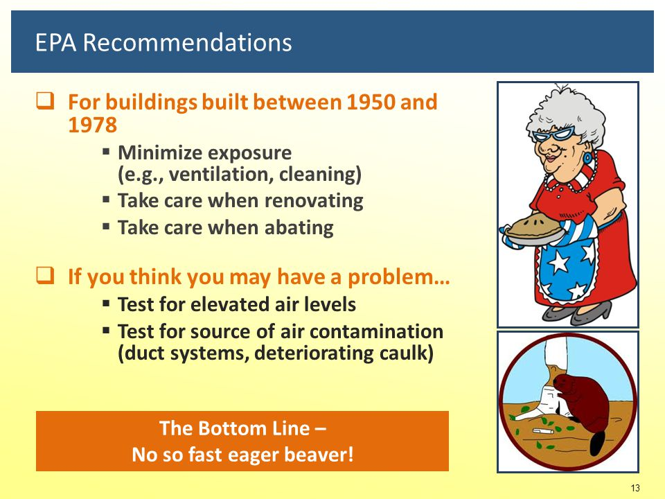 EPA Recommendations For buildings built between 1950 and 1978