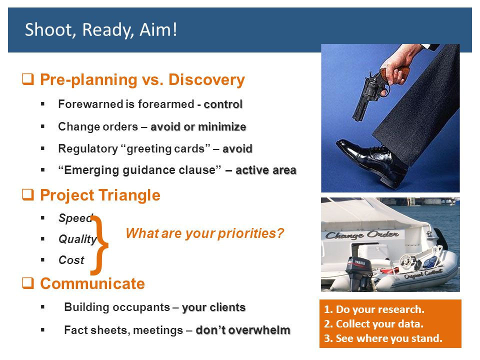 } Shoot, Ready, Aim! Pre-planning vs. Discovery Project Triangle