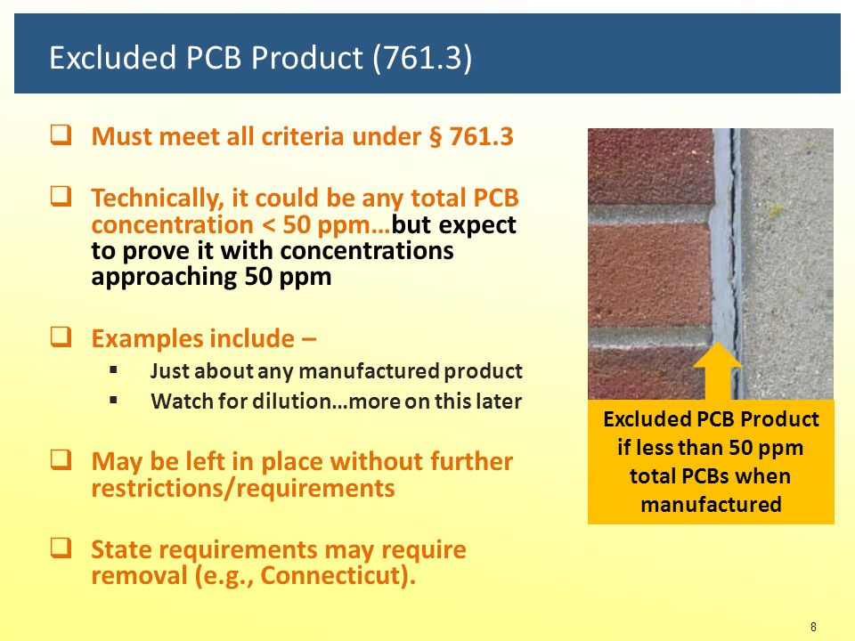 Excluded PCB Product (761.3)